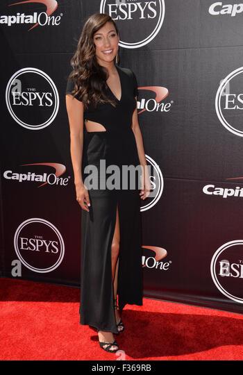 LOS ANGELES, CA - JULY 15, 2015: US women's soccer star Christen Press at the 2015 ESPY Awards at the Microsoft - Stock-Bilder