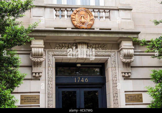 Washington DC District of Columbia Massachusetts Avenue Embassy of Uzbekistan exterior door diplomatic mission - Stock Image