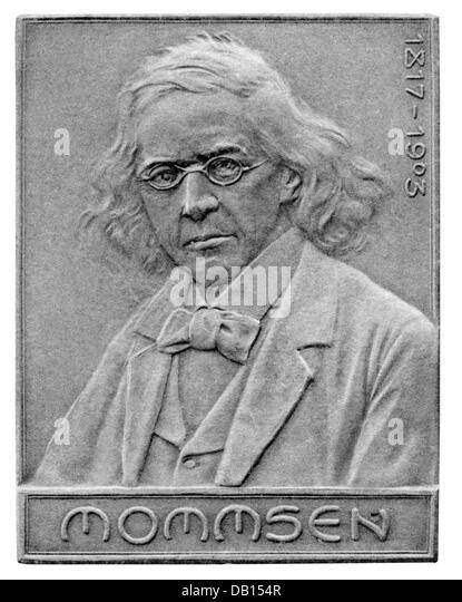 Mommsen, Theodor, 30.11.1817 - 1.11.1903, German historian, portrait, badge, bronze, 50,5 x 38,5 mm, Stuttgarter - Stock Image