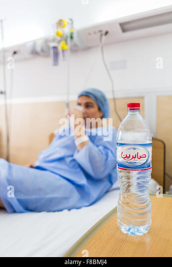 Woman hospitalized in a private hospital in Tunisia. - Stock Image