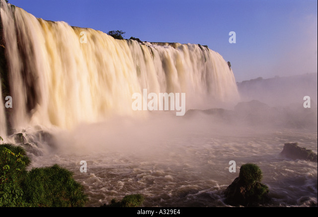 Iguazu Falls from Brazilian side border Brazil and Argentina - Stock Image