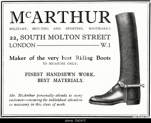 Original 1920s vintage print advertisement from English country gentleman's newspaper advertising McArthur military - Stock Image