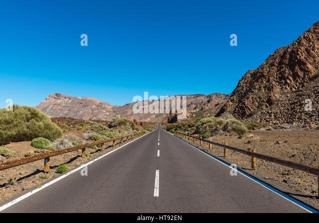 Road, Parque Nacional del Teide, Tenerife, Canary Islands, Spain - Stock Image