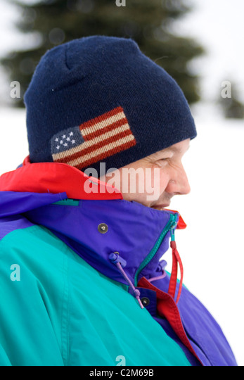 Man enjoying a winter outing age 39 in a city park . St Paul Minnesota MN USA - Stock Image