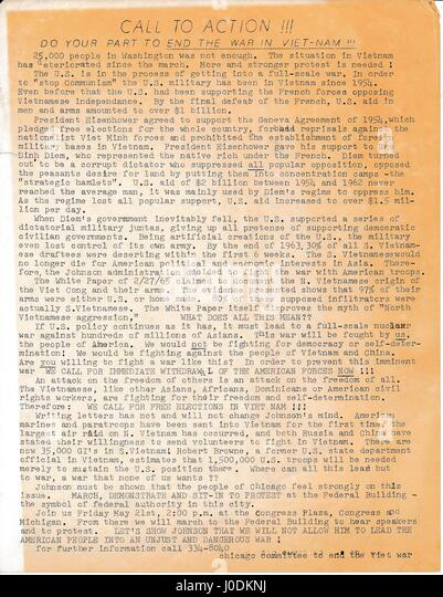 A Vietnam era leaflet from The Committee to End the War in Vietnam titled 'Call to Action III' advocating - Stock Image