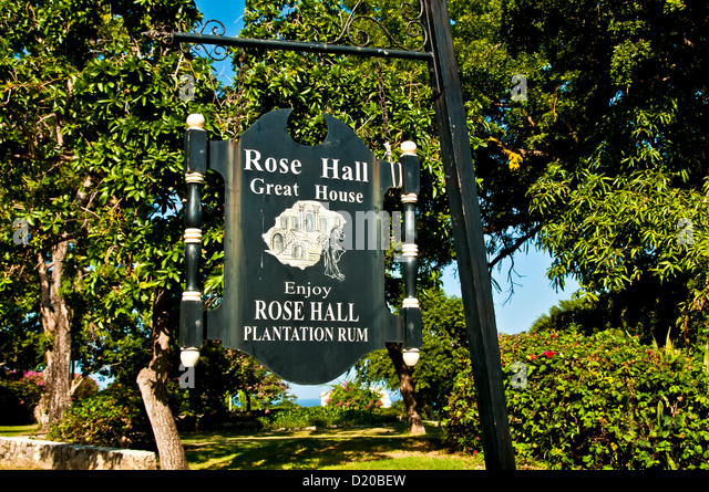 Sign at the entrance of Rose Hall Great House, popular Montego Bay tourist attraction Jamaica - Stock Image