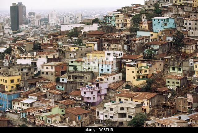 Poor suburban district. Cerro del Carmen. Guayaquil. Guayas province. Ecuador - Stock Image