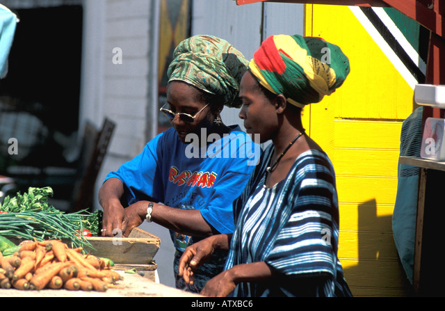 Barbados West Indies Caribbean Women Selling Vegetables - Stock Image