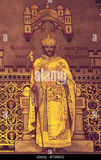 Baldwin I of Constantinople 1195 1205 Painting from Belgium, Copyright : AAAC Ltd - Stock-Bilder