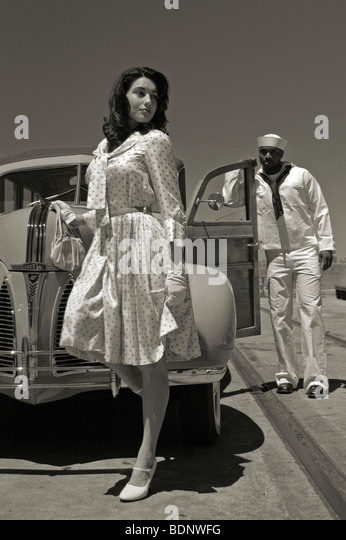 A model with a sailor - Stock-Bilder