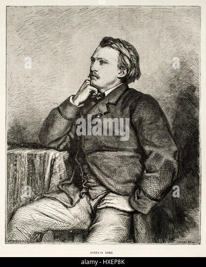 Wood engraving of the famous illustrator Gustave Dore (1832-1883) by J. Robert from the Belgian weekly newspaper - Stock Image