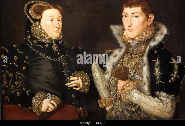 ActiveMuseum_0003642.jpg / Mary Neville, Lady Dacre and her son Gregory Fiennes, 10th Baron Dacre, 1559 - Hans Eworth22/01/2014 - Stock Image
