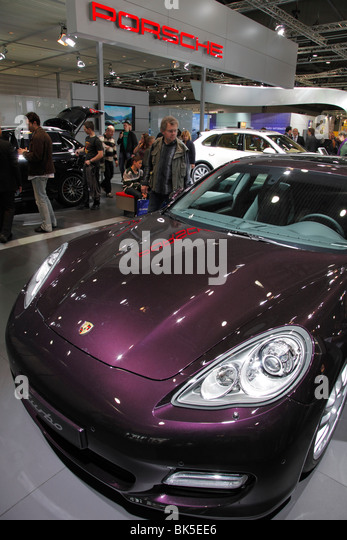 PORSCHE Panamera hybrid at the Auto Mobil International (AMI) - the Motor Show 2010 in Leipzig, Germany - Stock Image