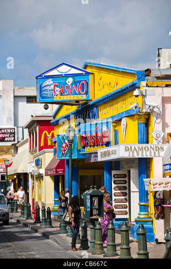Philipsburg Front Street famous caribbean duty free shopping district, St Maarten - Stock Image