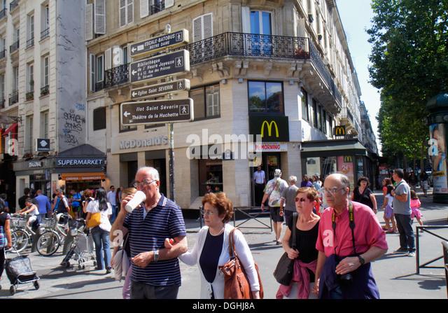 Paris France Europe French 5th arrondissement Latin Quarter Rive Gauche Left Bank Boulevard Saint-Germain McDonald's - Stock Image