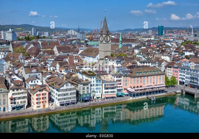 Zurich, St. Peter, church, Wuehre, Limmat, Switzerland - Stock Image