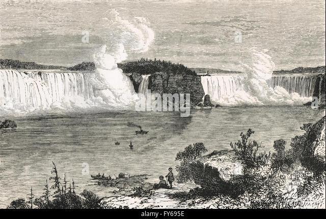 19th century view of the Niagara Falls - Stock Image