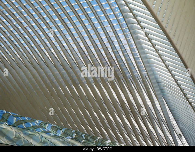 Architectural roof detail of the station in Liège-Guillemin, Belgium, Europe - Stock-Bilder