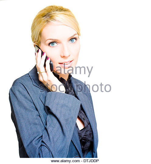 Ambitions Driven And Career Minded Business Woman Speaking On A Mobile Cell Phone To A Employment Or Recruitment - Stock Image
