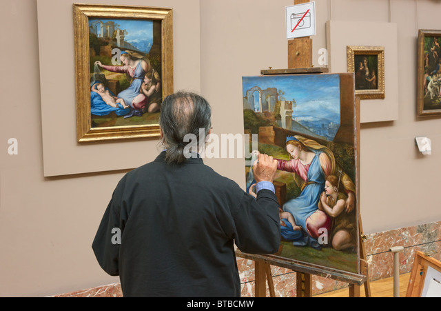 Painter artist copyist Louvre Museum Paris - Stock Image