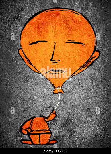 sleeping orange man with balloon head - Stock Image