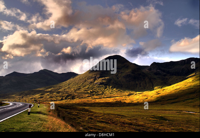 Landscape Cluanie Lodge Highlands of Scotland - Stock Image