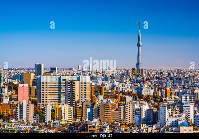 Tokyo, Japan afternoon skyline with Tokyo Sky Tree. - Stock Image