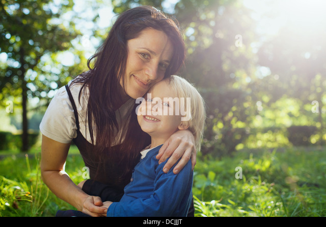 family portrait with place for the text - Stock Image