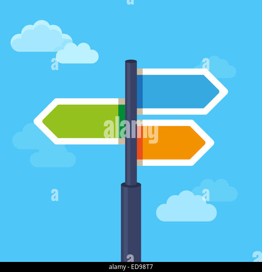 Vector abstract strategy concept in flat style - road sign with different arrows - Stock-Bilder