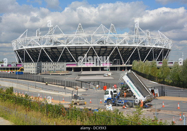 Road works in progress outside the Olympic stadium prior to conversion into combined athletics and football use - Stock Image