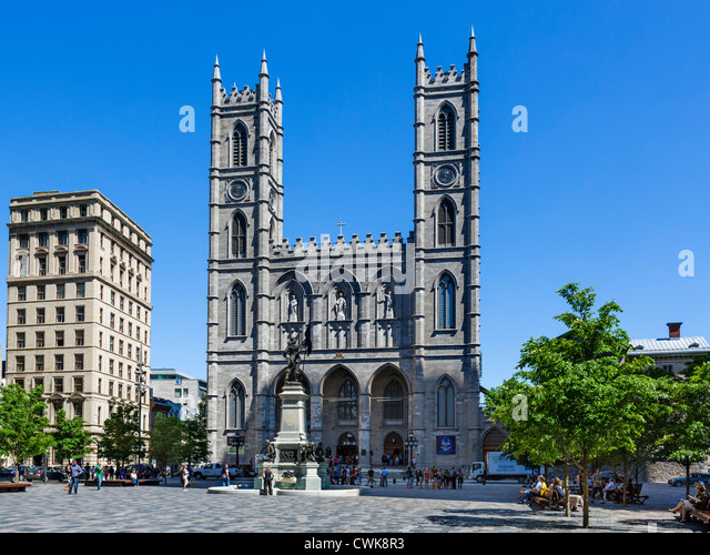 The Basilica of Notre-Dame in the Place d'Armes, Vieux Montreal, Quebec, Canada - Stock Image