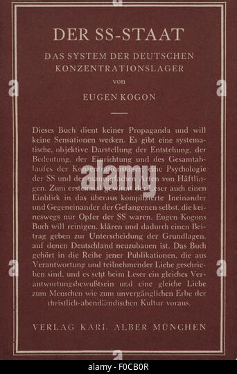 Eugen Kogon, book, 'The SS-State', 1946 - Stock-Bilder