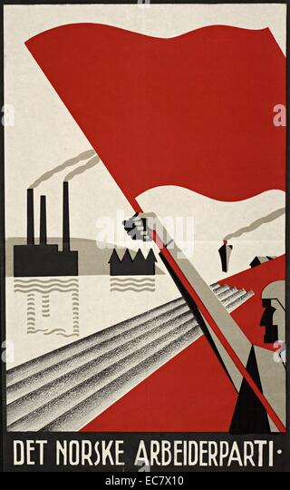 Norwegian labour party poster of the 1930's - Stock Image