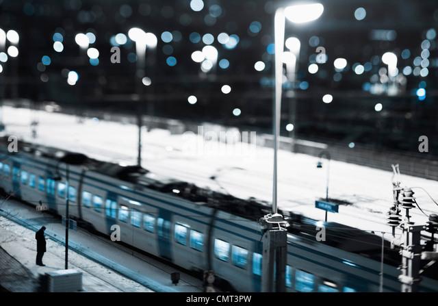 High angle view of train - Stock Image