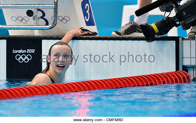 LEDECKY Katie of USA competes in the Women's 800m Freestyle Final held at the London Aquatics Center at the - Stock Image