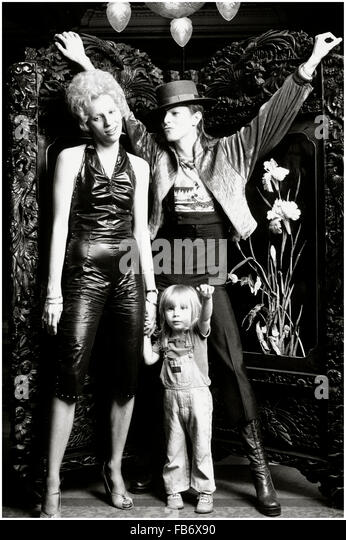The Amstel Hotel, Amsterdam, Holland 07 February 1974. David Bowie with his first wife Angie and their son Zowie - Stock Image