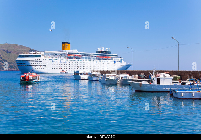 cruise ship Cost Romantica before Lipari, Italy - Stock Image