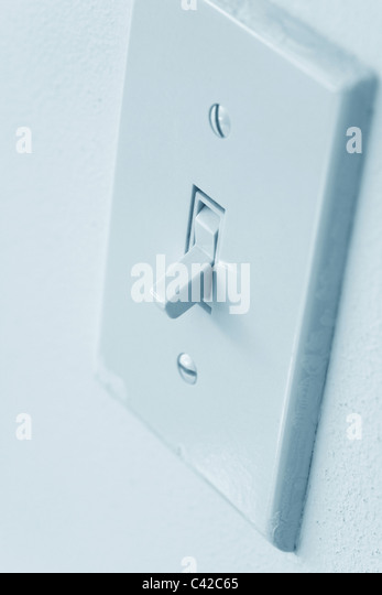 Light Switch close up shot, Environmental Conservation - Stock Image