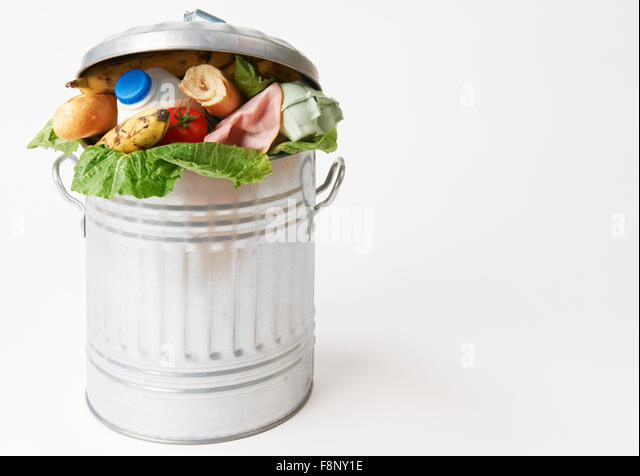 Fresh Food In Garbage Can To Illustrate Waste - Stock Image