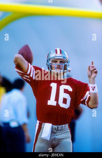 Joe Montana San Francisco 49ers quarterback at the 1989 Super Bowl - Stock-Bilder