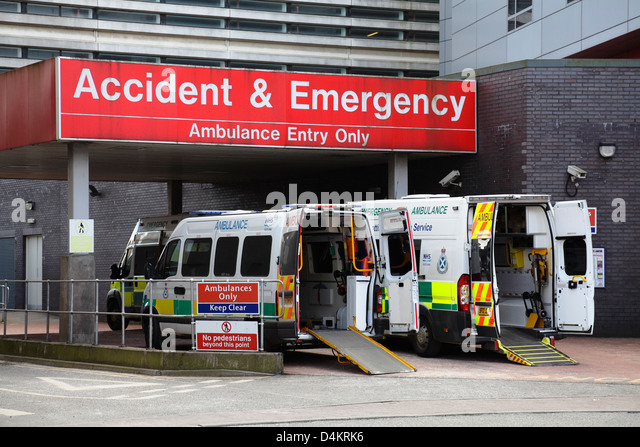 Accident and Emergency entrance, ambulance entry only, Glasgow Royal Infirmary, Scotland, UK - Stock Image