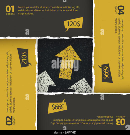 Asphalt texture under torn paper plates. Options composition, vector, EPS10 - Stock Image