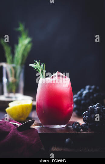 Rosemary grape cocktail - Stock Image