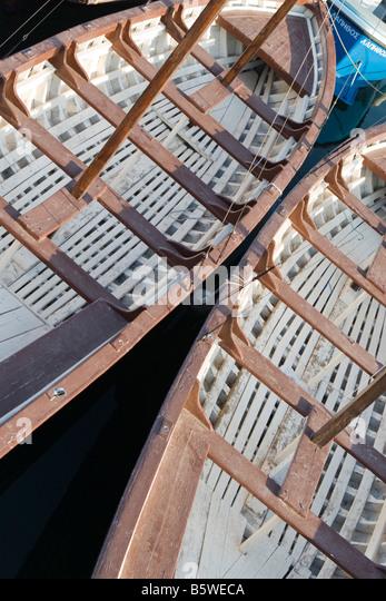 sail,boat, oar, pair-oar, closeup, inside, rail - Stock Image