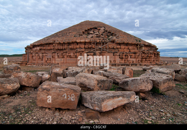 Tomb of the Numidian kings, Medracen, Eastern Algeria, Algeria, North Africa - Stock Image
