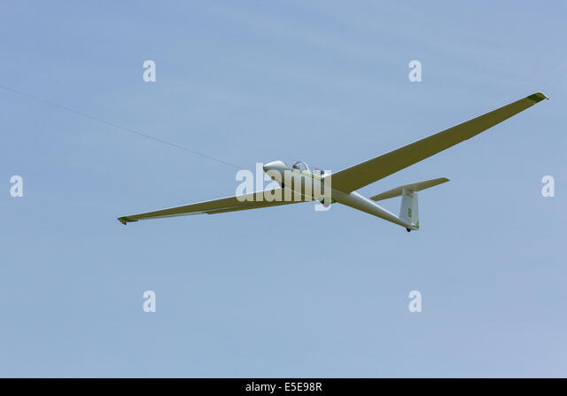 Glider flying over Harris Hill Soaring Center in Horseheads near Elmira New York - Stock Image