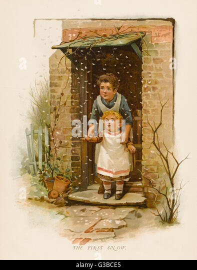 Mother shows her child 'The First Snow'.        Date: 1880s - Stock Image