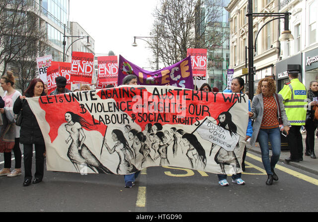London, UK. March 11, 2017: Protestors from Daymer Women Organisation take part in the 10th annual Million Women - Stock Image
