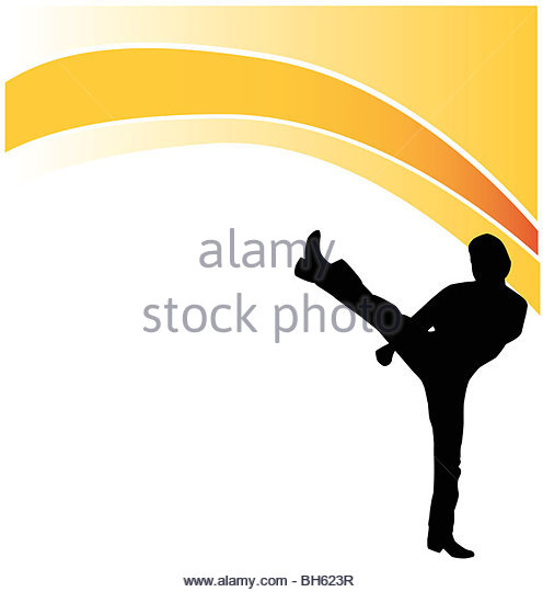 fighting silhouette logo - Stock Image