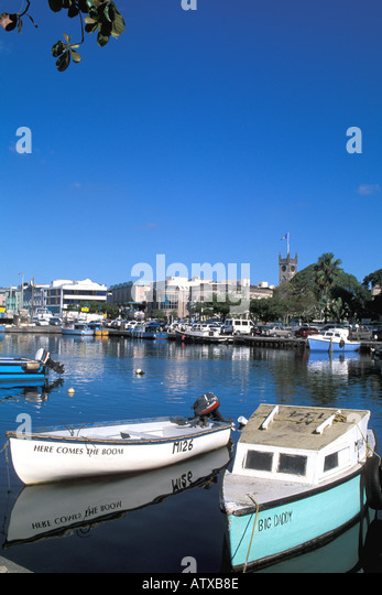 Barbados West Indies Caribbean Bridgetown Fishing Boats Government Buildings - Stock Image